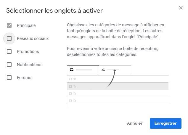 Déactivation des onglets de navigation Gmail