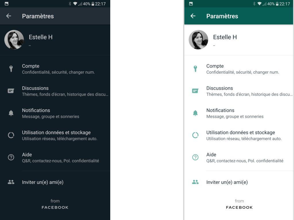 WhatsApp dark mode vs theme normal